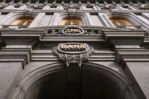 Facade of old bank building.