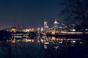 Philadelphia skyline at night.